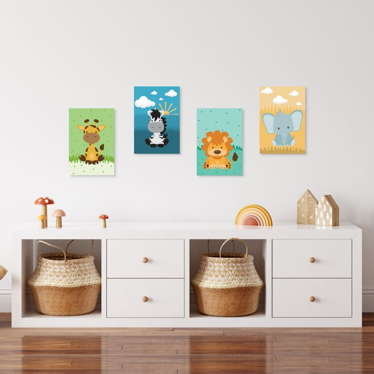 a9d275253 Placas Decorativas Safari Infantil MDF 30x40cm Kit 4un