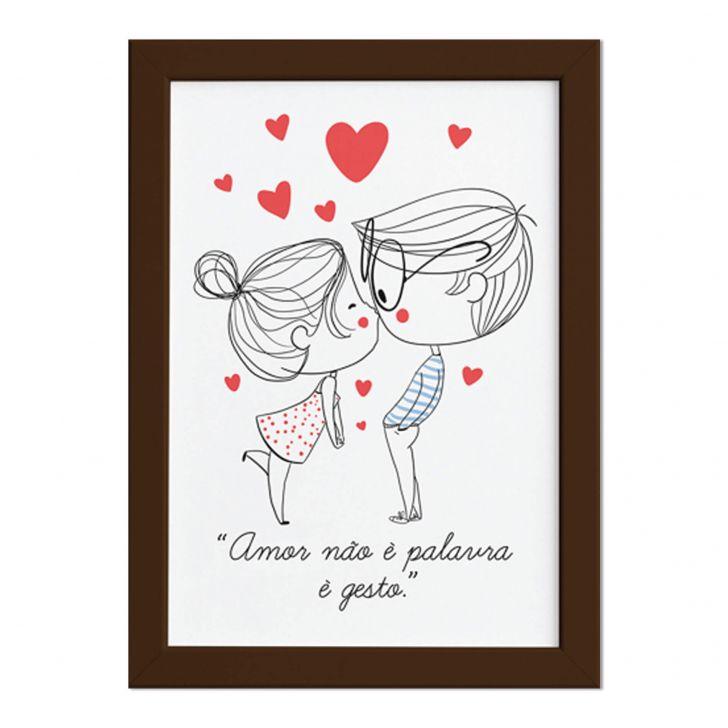 Quadro Para Quarto Frase Amor Gesto Moldura Marrom 33x43cm