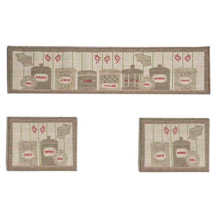 Tapete Cozinha Sisal Look 1- 41x160 cm e 2 - 41x60 cm Castor V-112   Rayza