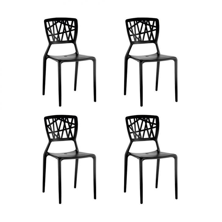 Conjunto de 4 Cadeiras Melissa Preta