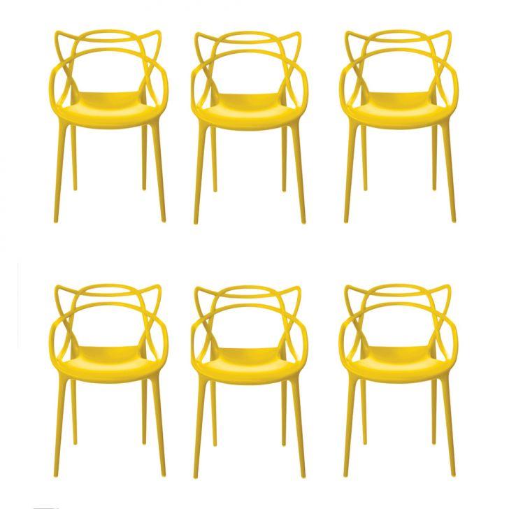 Conjunto de 6 Cadeiras Allegra Amarela