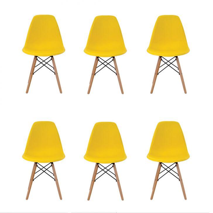 Conjunto de 6 Cadeiras Eiffel Amarela