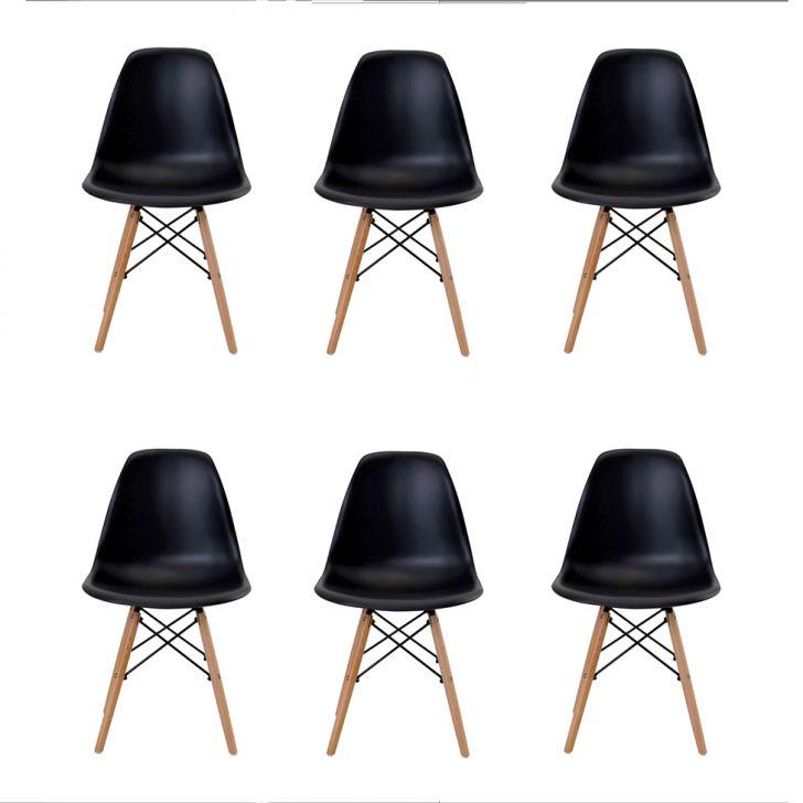 Conjunto de 6 Cadeiras Eiffel Preta