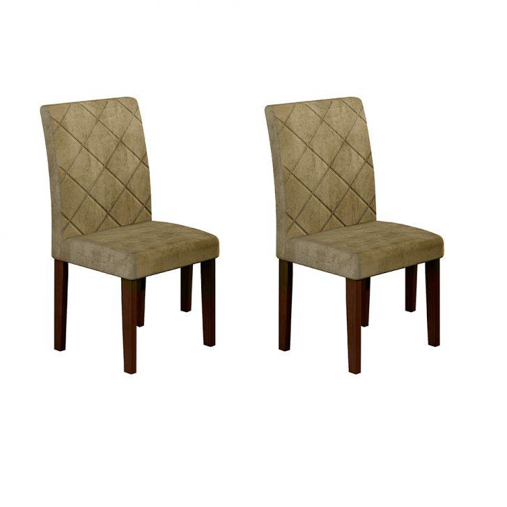 Conjunto com 2 Cadeiras de Jantar Ane Suede Animalle Castor