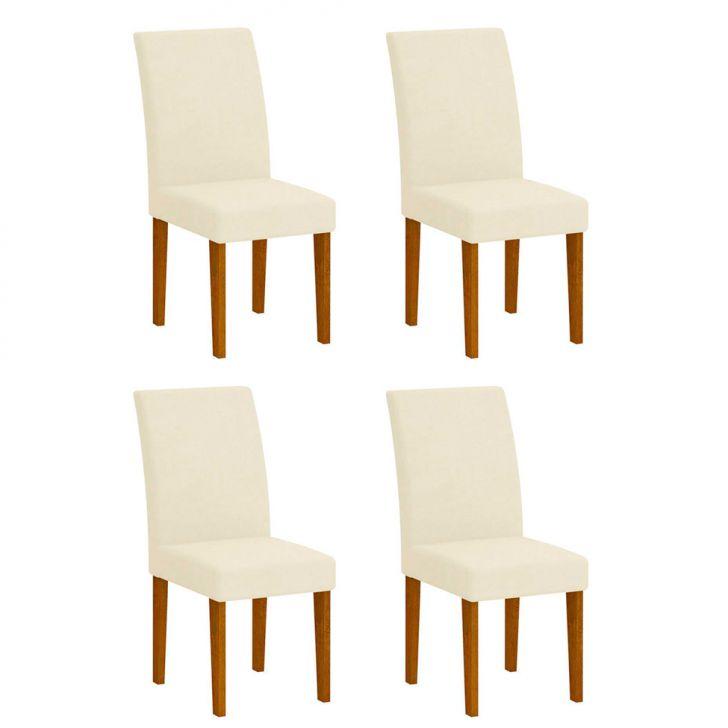 Conjunto com 4 Cadeiras Grécia  Imbuia Veludo Creme