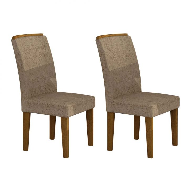 Conjunto de 2 Cadeiras Lunara Imbuia Suede Amassado Chocolate