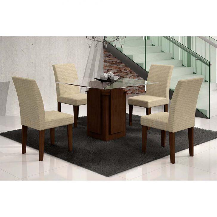 Conjunto de Mesa Amsterdã com 4 Cadeiras Grécia de Jantar Castor e Matelasse