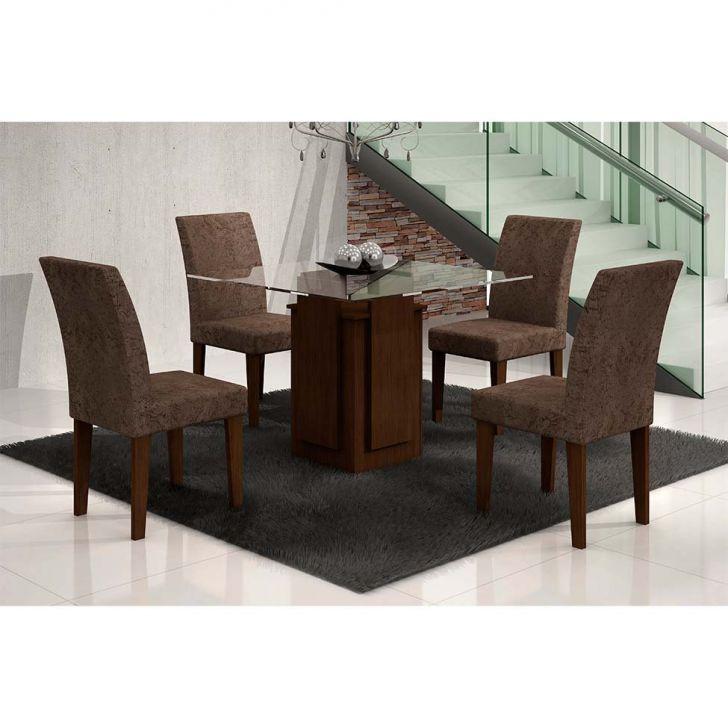 Conjunto de Mesa Amsterdã com 4 Cadeiras Grécia de Jantar Castor e Suede...