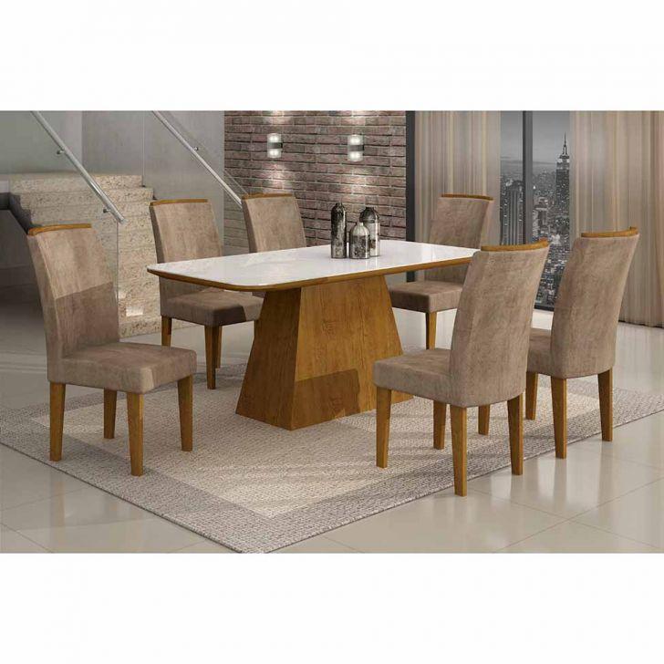 Conjunto de Mesa Lunara I 180 cm com 6 Cadeiras Animalle Imbuia e Chocolate