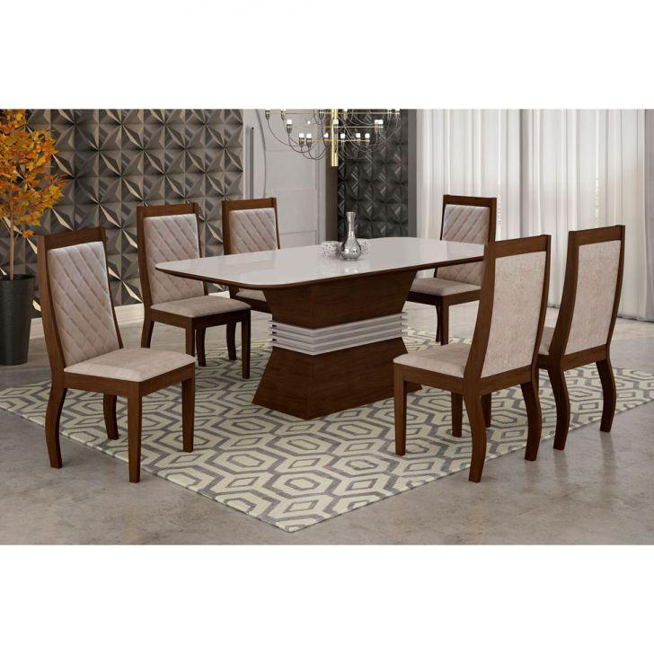 Conjunto de Mesa Tamara com 6 Cadeiras de Jantar Vitória Suede Amassado...