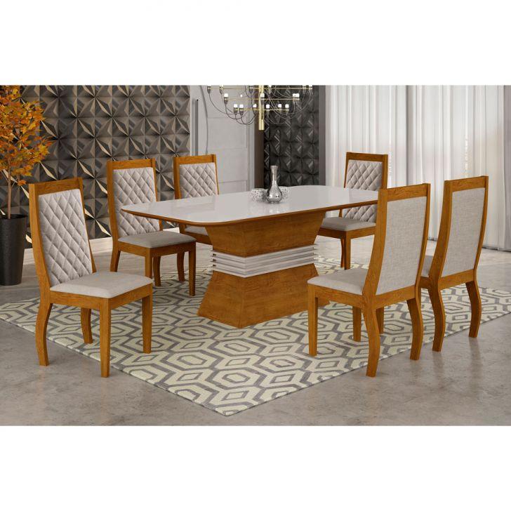 Conjunto de Mesa Tamara com 6 Cadeiras de Jantar Vitória Suede Imbuia e Off...