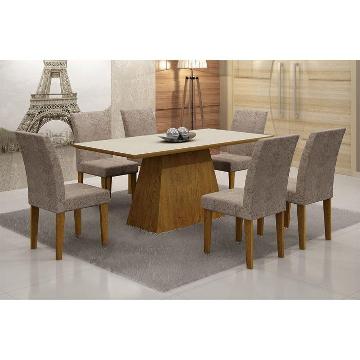 Conjunto de Mesa com 6 Cadeiras de Jantar Luna Imbuia e Off White