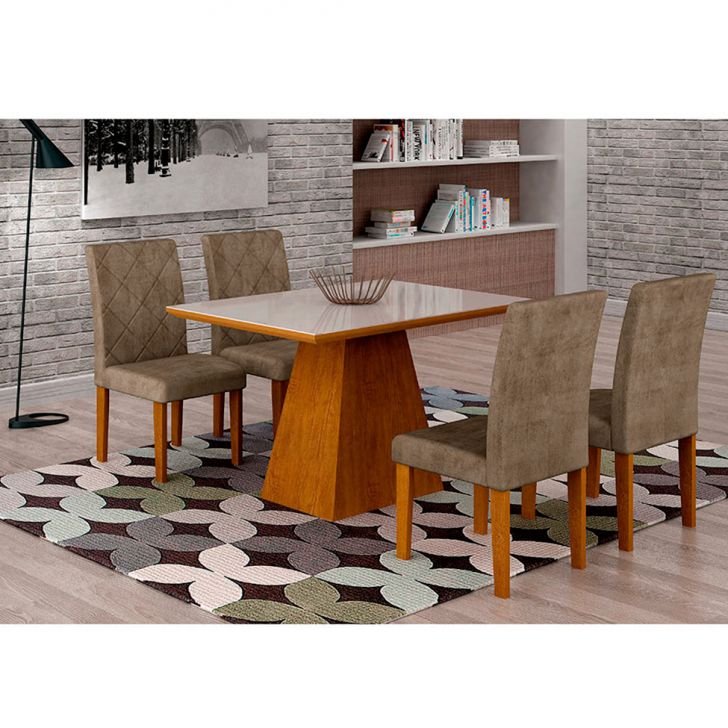 Conjunto de Mesa de Jantar Luna Com 4 Cadeiras Ane I Suede Animalle Imbuia,...