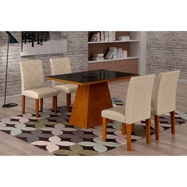 Conjunto de Mesa de Jantar Luna Com 4 Cadeiras Ane II Linho Imbuia e Preto