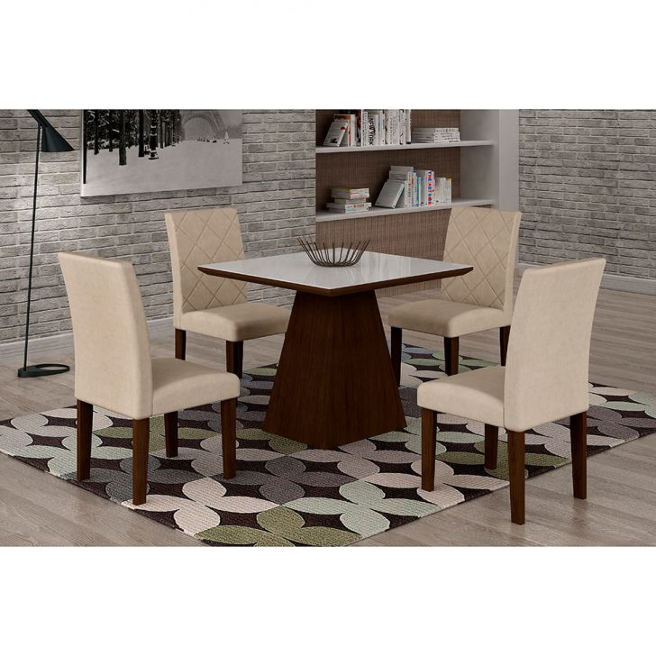 Conjunto de Mesa de Jantar Luna Com 4 Cadeiras Ane III Veludo Castor, Branco e...
