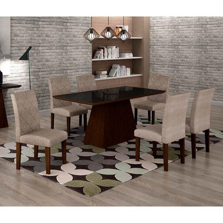 Conjunto de Mesa de Jantar Luna Com 6 Cadeiras Ane I Suede Amassado Castor,...