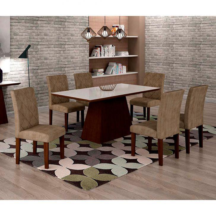 Conjunto de Mesa de Jantar Luna Com 6 Cadeiras Ane I Suede Animalle Castor,...