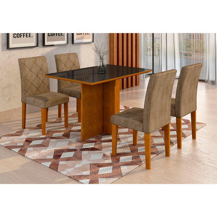 Conjunto de Mesa de Jantar com 4 Cadeiras Ane II Suede Animalle Imbuia e...