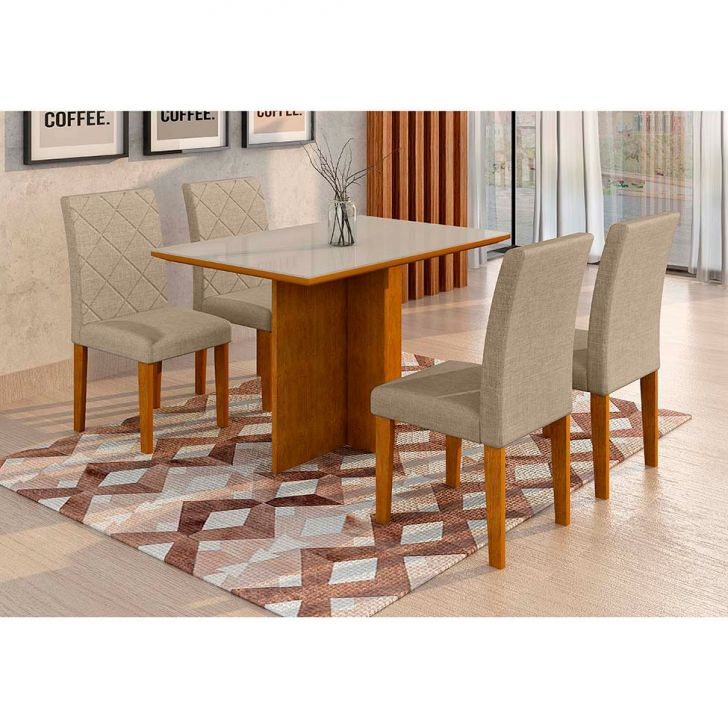 Conjunto de Mesa de Jantar com 4 Cadeiras Ane Linho Imbuia e Branco