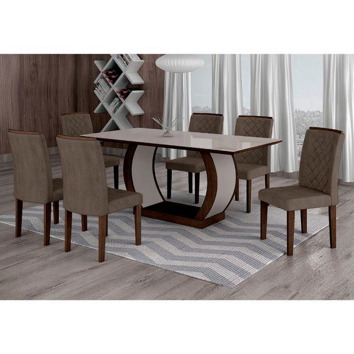 Conjunto de Mesa de Jantar com 6 Cadeiras Maia I Suede Animalle Castor e...