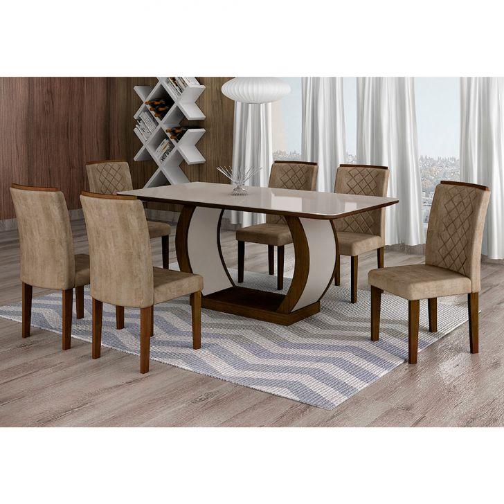 Conjunto de Mesa de Jantar com 6 Cadeiras Maia III Suede Animalle Castor e...