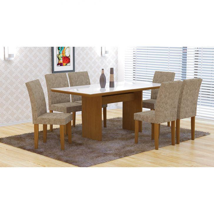 Conjunto de Mesa de Jantar com Vidro e 6 Cadeiras Grécia Imbuia e Bege