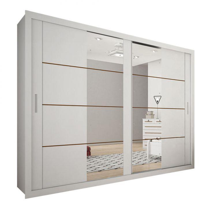 Guarda-Roupa Casal com Espelho São Gonçalo Branco 2 Pt 4 Gv