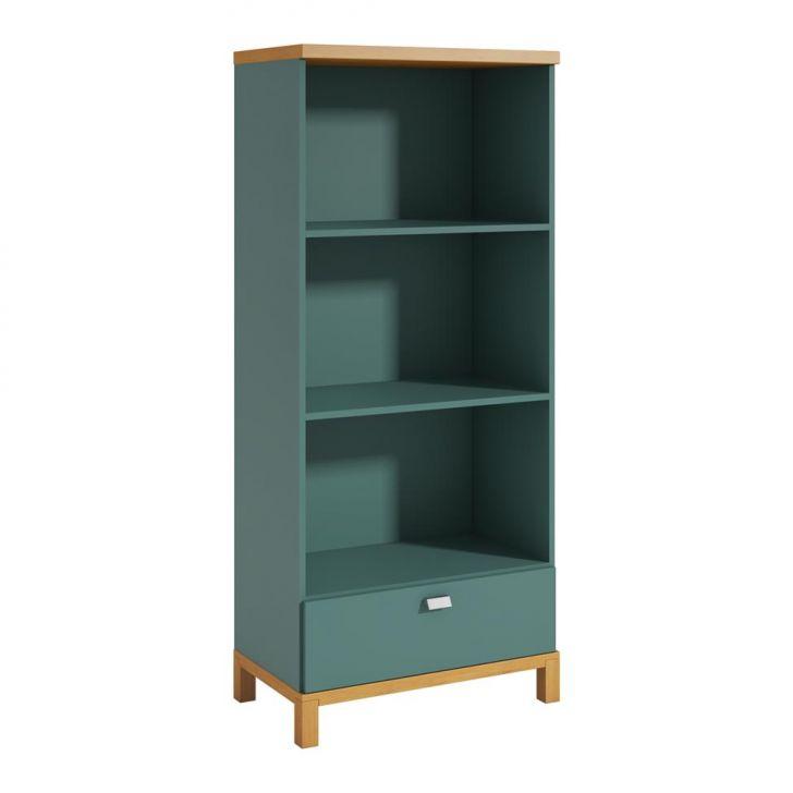 Imagem da estante - ela possui duas prateleiras e uma gaveta grande na parte de baixo.