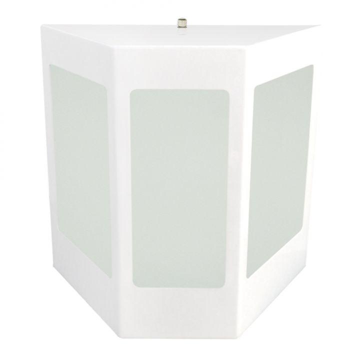 Arandela de Aço e Vidro Três Faces Para 1 Lâmpada Branca