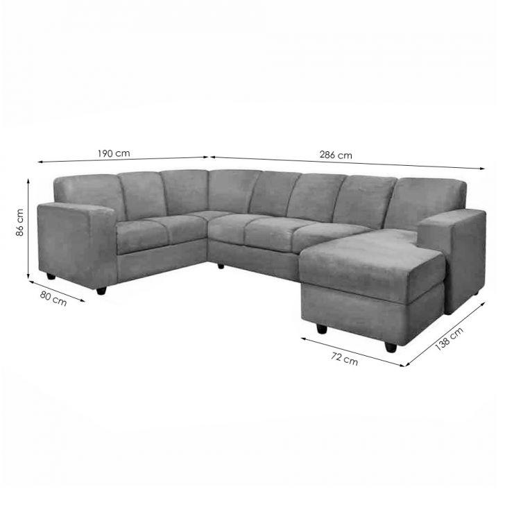 Sof de canto 6 lugares com chaise astor suede cinza for Sofa de canto 8 lugares