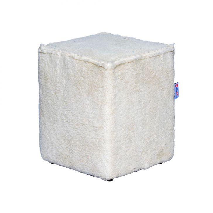 Puff Cubo Pelúcia I Branco