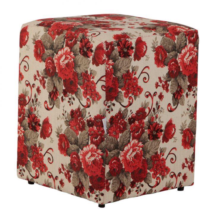 Puff Quadrado Cubo Floral Linho Vermelho
