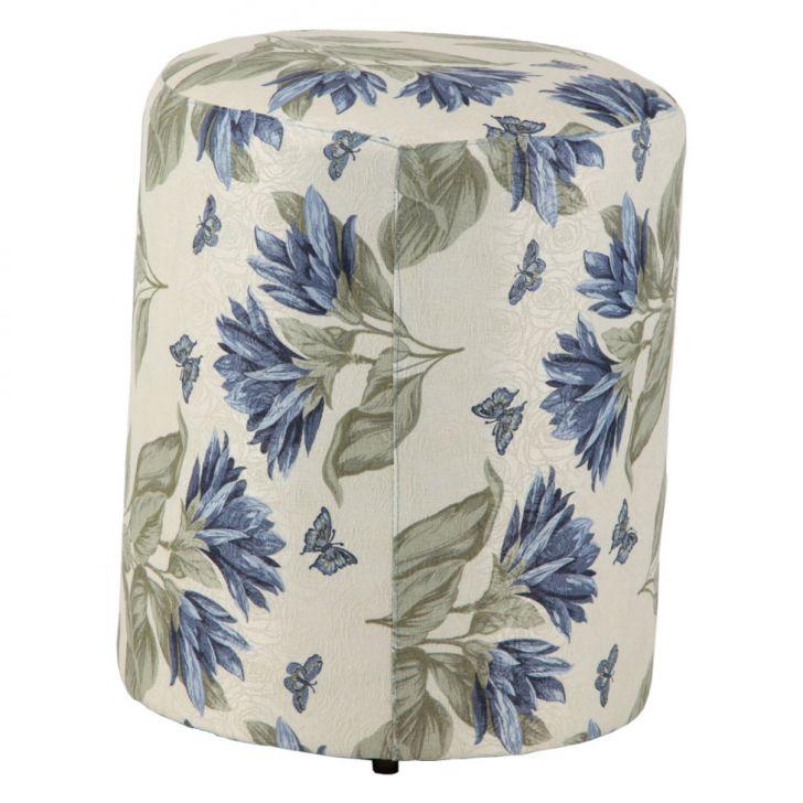 Puff Redondo Round Jacguard Floral Azul I