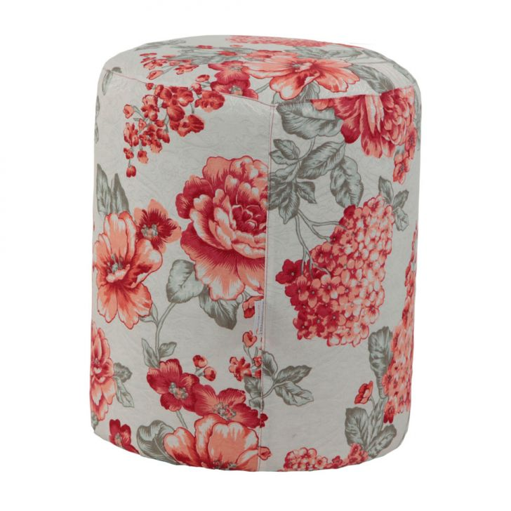 Puff Redondo Round Jacguard Floral Rosa II