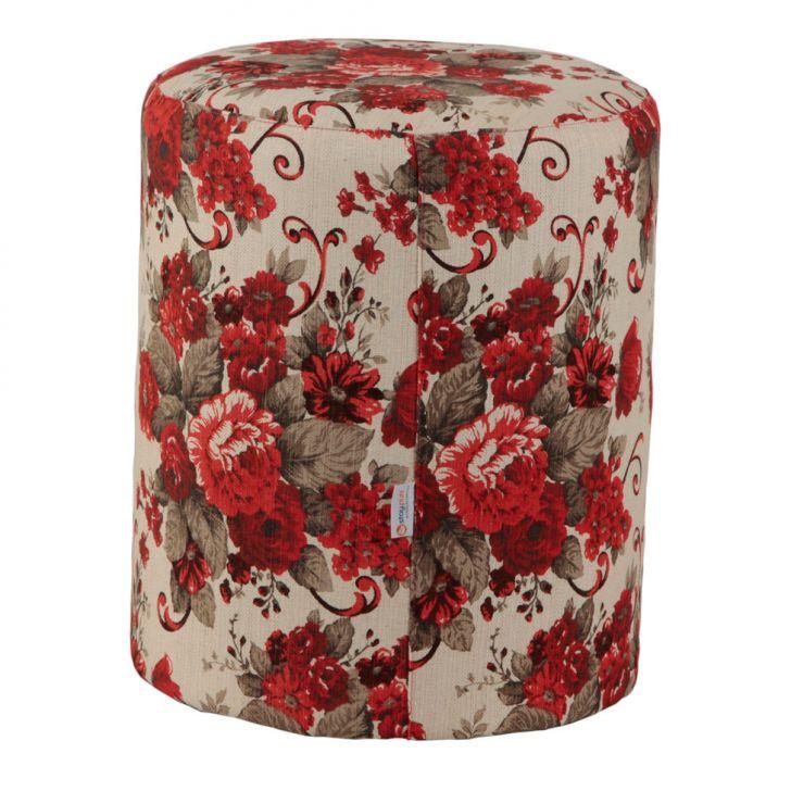 Puff Redondo Round Linho Floral Vermelho