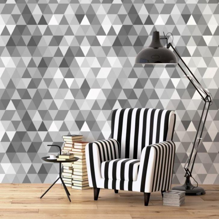 Papel de parede adesivo geom trico mosaico cinza for Papel de pared argentina