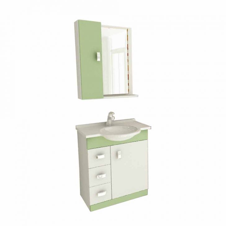 Foto 1 - Conjunto Gabinete Pratiko 60 cm 2 Portas 3 Gavetas Branco & Verde Tomdo