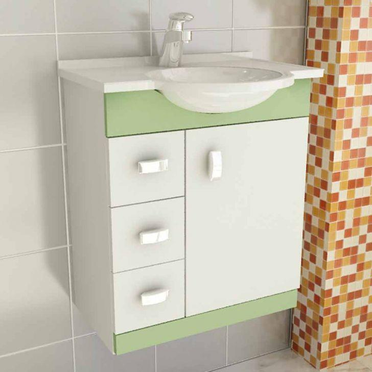 Foto 2 - Conjunto Gabinete Pratiko 60 cm 2 Portas 3 Gavetas Branco & Verde Tomdo
