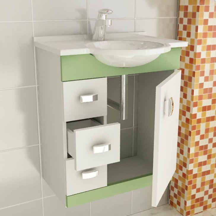 Foto 3 - Conjunto Gabinete Pratiko 60 cm 2 Portas 3 Gavetas Branco & Verde Tomdo