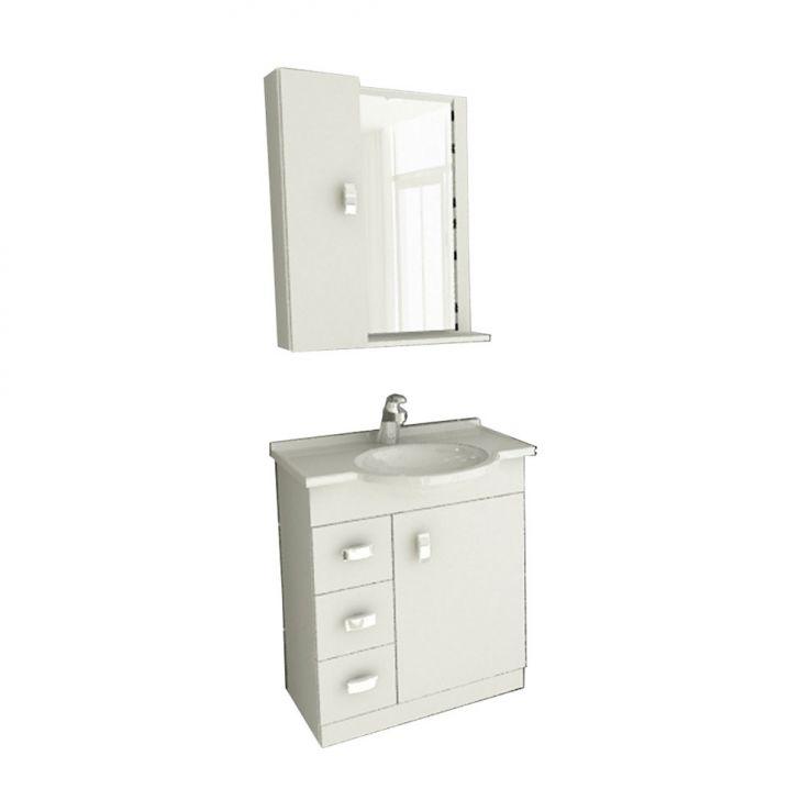 Foto 1 - Conjunto Gabinete Pratiko 60 cm 2 Portas 3 Gavetas Branco Tomdo
