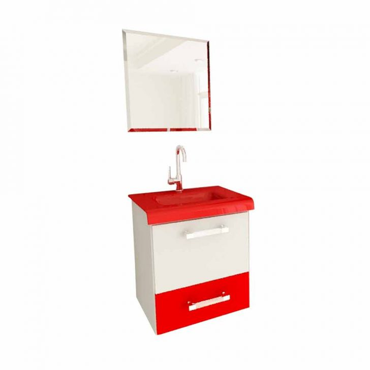 Foto 4 - Conjunto Gabinete Vetro 43 cm 1 Gaveta 1 Porta Branco & Vemelho