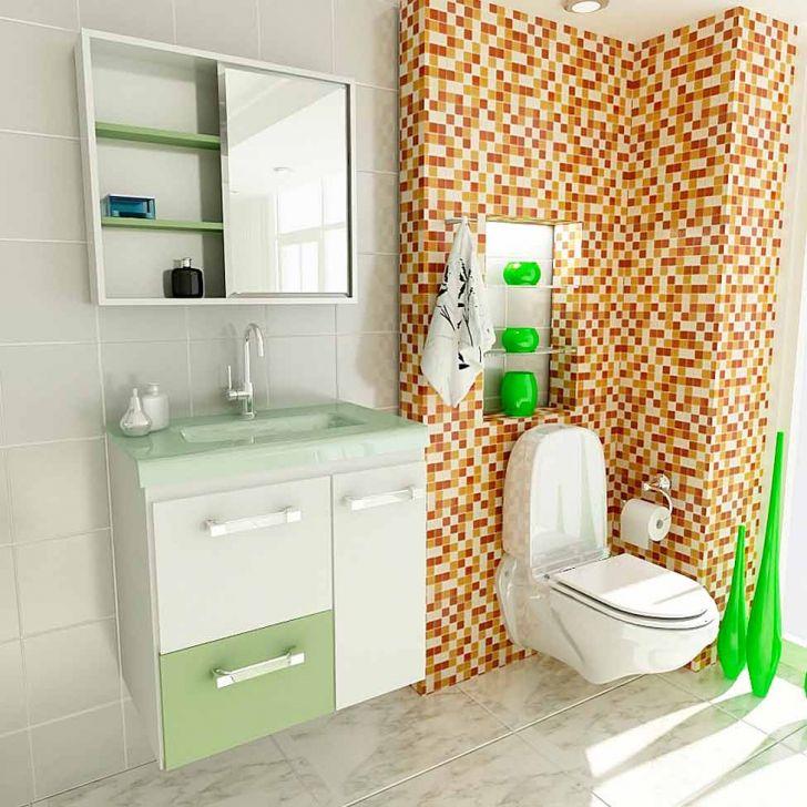 Conjunto Gabinete Vetro 60 cm 2 Portas 1 Gaveta Branco & Verde