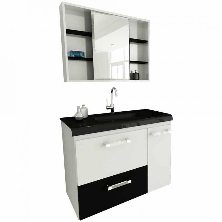 Foto 2 - Conjunto Gabinete Vetro Branco e Preto 80 cm