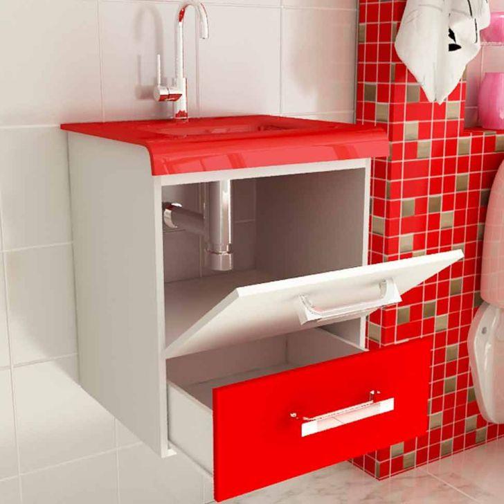 Foto 2 - Conjunto para Banheiro Vetro Branco e Vermelho