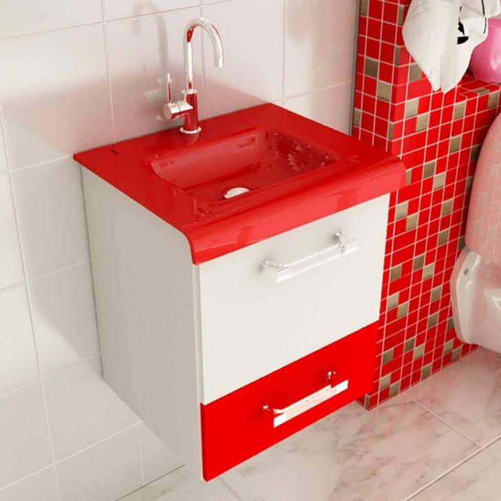 Foto 3 - Conjunto para Banheiro Vetro Branco e Vermelho