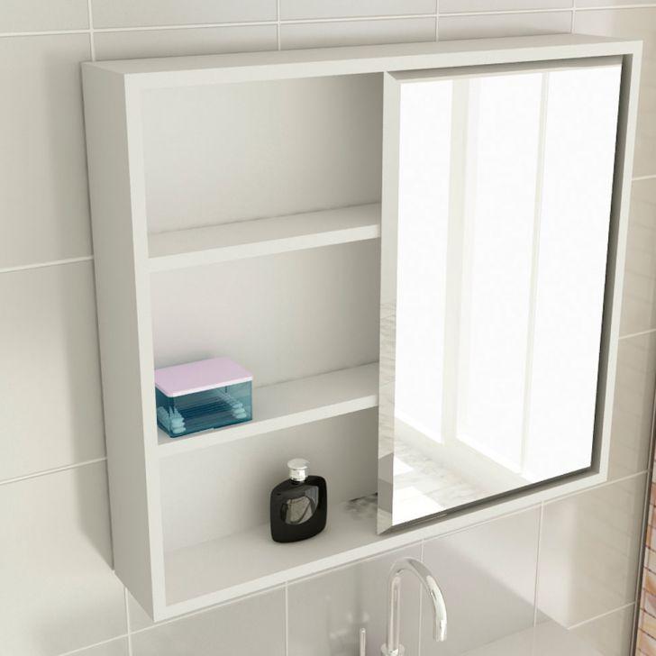 Foto 2 - Espelheira de Banheiro 22 Quadrada 60 cm Branco