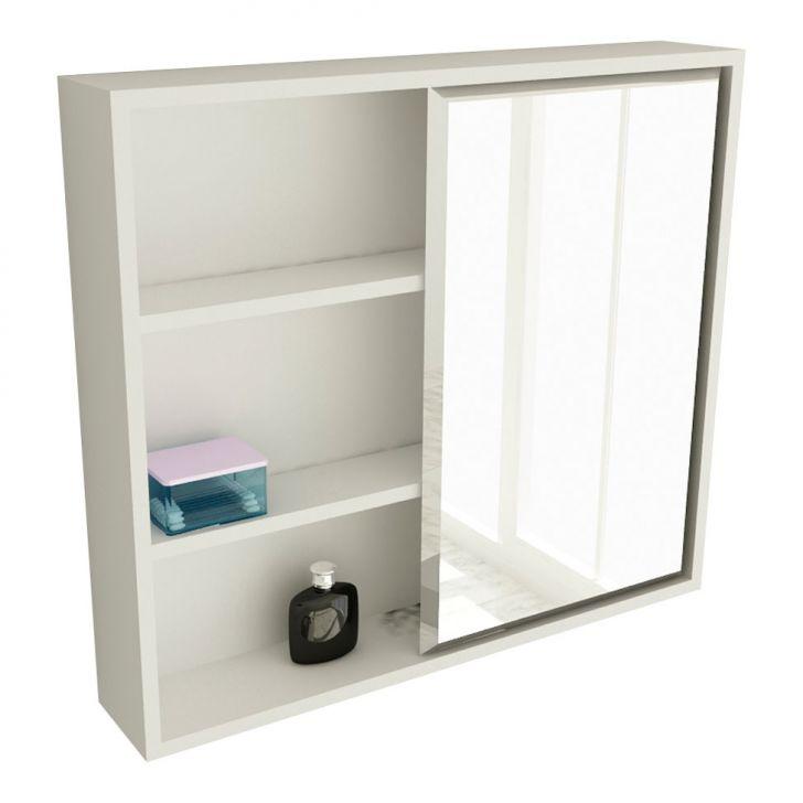 Foto 1 - Espelheira de Banheiro 22 Quadrada 60 cm Branco