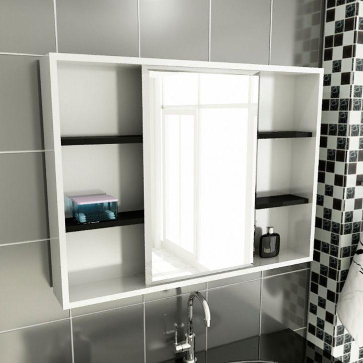 Espelheira de Banheiro 22 Retangular 80 cm Branco & Preto
