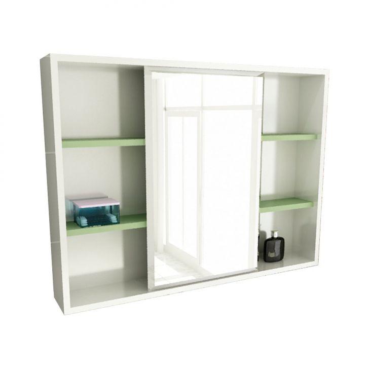 Espelheira de Banheiro 22 Retangular 80 cm Branco & Verde
