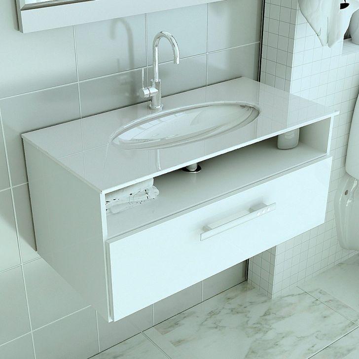 Foto 1 - Gabinete 16 Com Pia De Vidro Linea 60 cm Branco